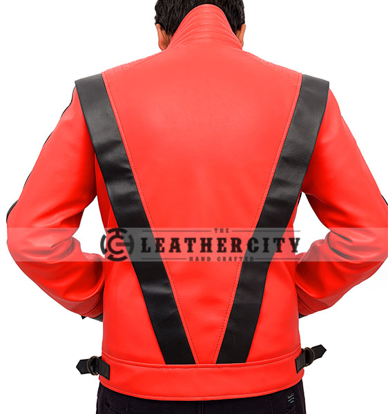 Michael Jackson Thriller Red and Black Genuine Leather Jacket Back