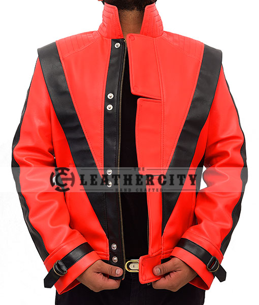 Michael Jackson Thriller Red and Black Genuine Leather Jacket Open Front