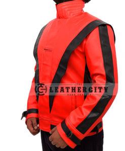 Michael Jackson Thriller Red and Black Genuine Leather Jacket Left