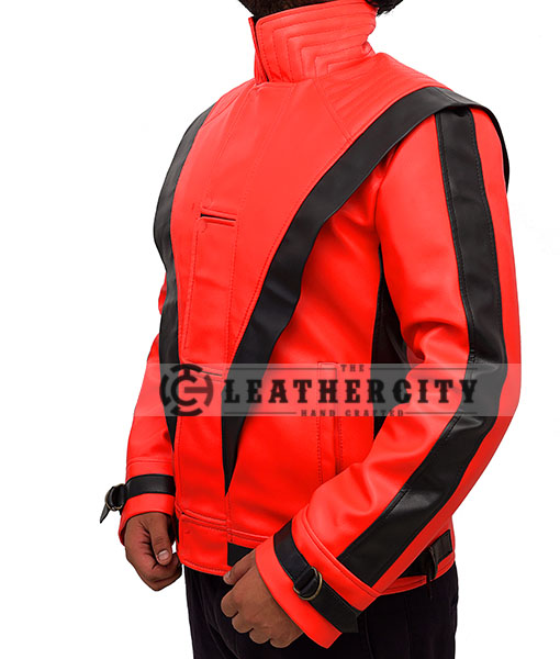 Michael Jackson Thriller Red and Black Genuine Leather Jacket Left