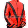 Michael Jackson Thriller Red Genuine Leather Jacket Right