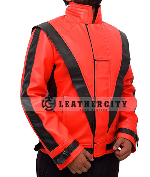 Michael Jackson Thriller Red and Black Genuine Leather Jacket Right