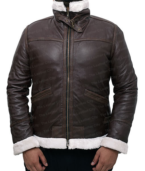 Resident Evil 4 Leon Kennedy Shearling Real Leather Jacket (6)