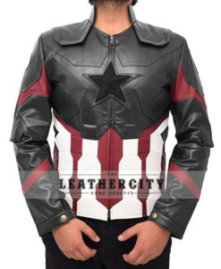 Captain America Avengers Infinity War Leather Jacket Front