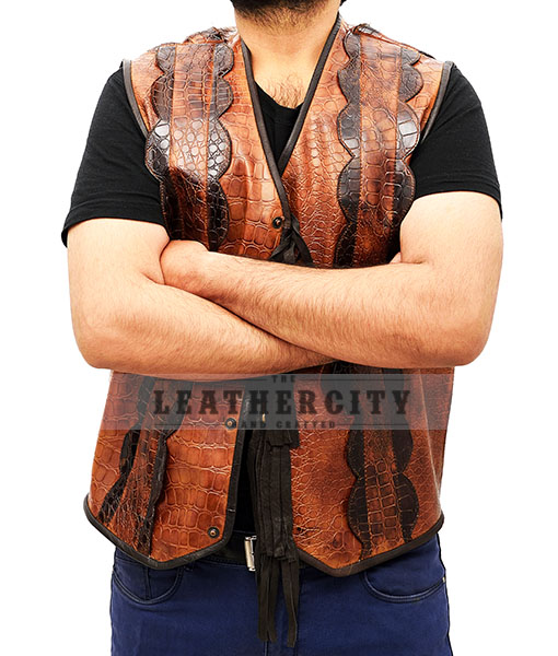 Dundee Crocodile Leather Vest Front