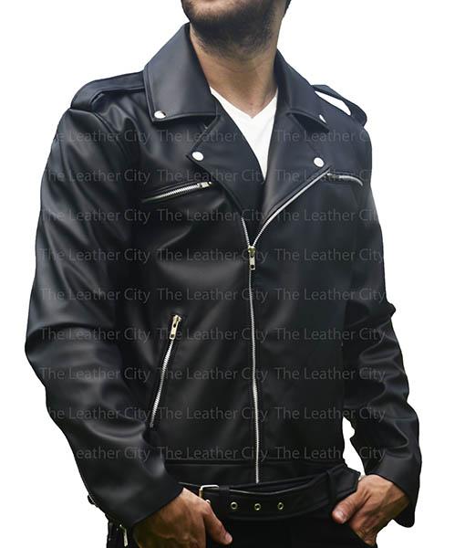 The Walking Dead Negan Jeffrey Dean Morgan Leather Jacket front