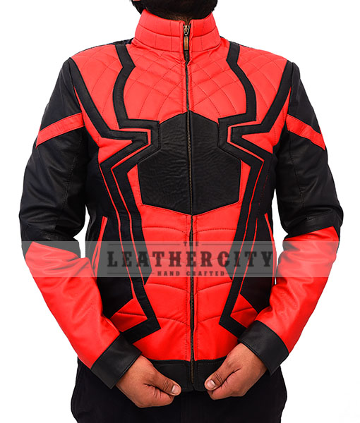 Avengers Infinity War Spiderman Armored Black Costume Jacket Front