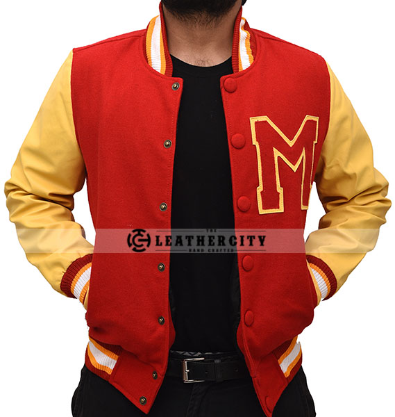 Red M Logo Varsity Letterman Bomber Jacket Mens Red Jacket