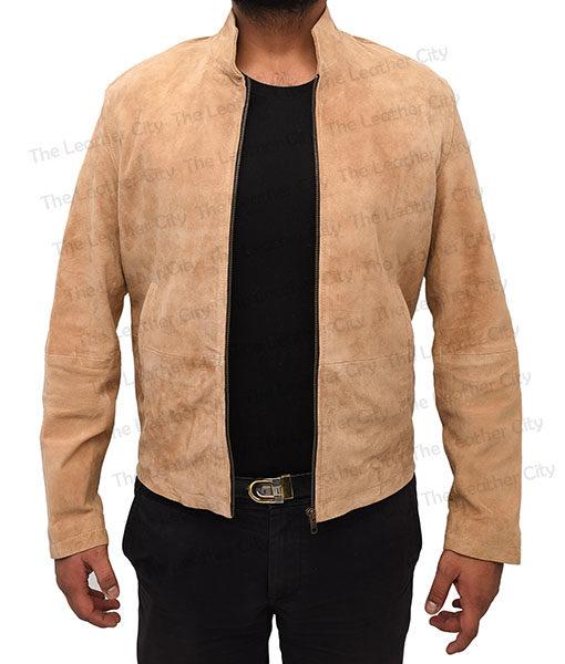 Mens Morocco Daniel Craig Black Suede Leather Biker Jacket