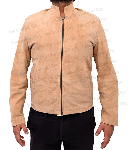 Spectre James Bond Daniel Craig Morocco Brown Suede Leather Jacket Front