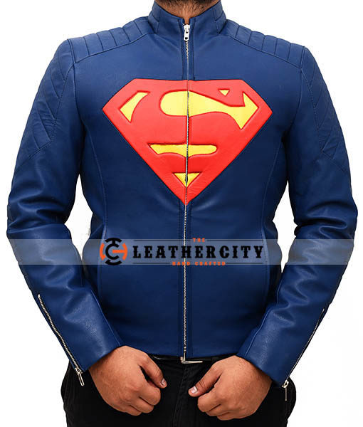 Superman Man Of Steel Leather Jacket – Blue and Yellow
