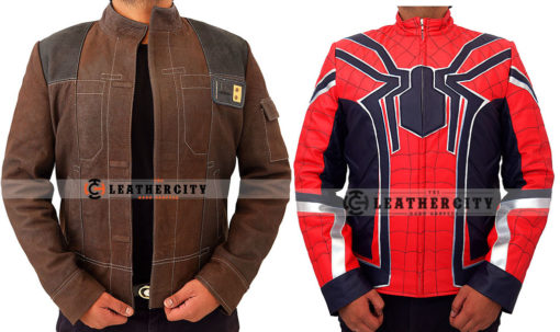 Han Solo Suede Leather Jacket + Avengers Infinity War Spiderman Armored Costume Jacket