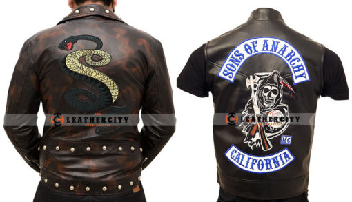 Tunnel Snakes Rule Jacket + Charlie Hunnam Sons of Anarchy Leather Vest