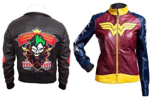 Wonder Women Jacket + Harley Quinn Suicide Squad's Bomber Leather Jacket