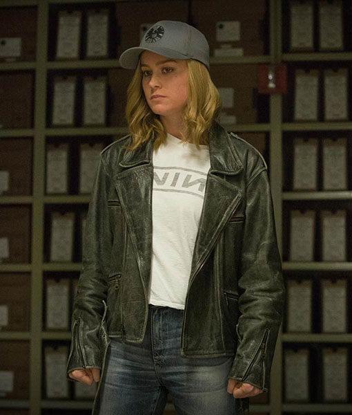 Captain Marvel Brie Larson Black Leather Jacket