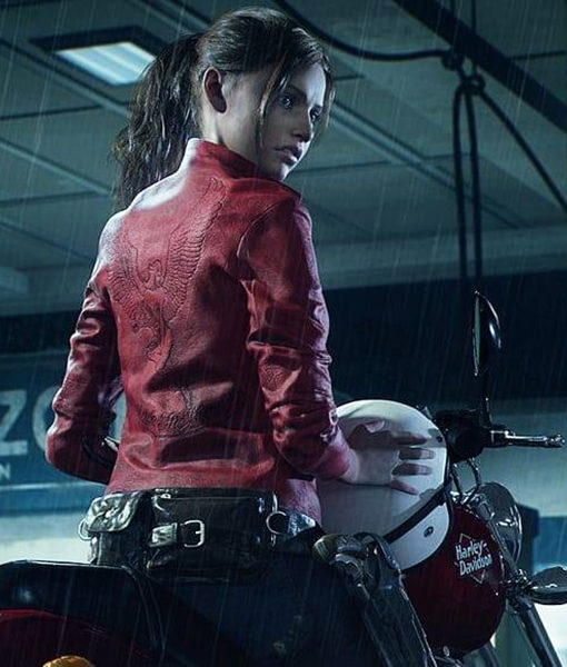 Resident Evil 2 Claire Redfield Red Leather Jacket