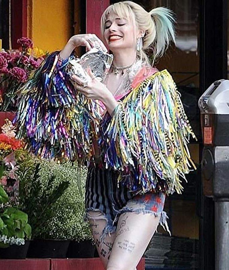 Birds Of Prey Margot Robbie Aka Harley Quinn Colorful Fringe Jacket