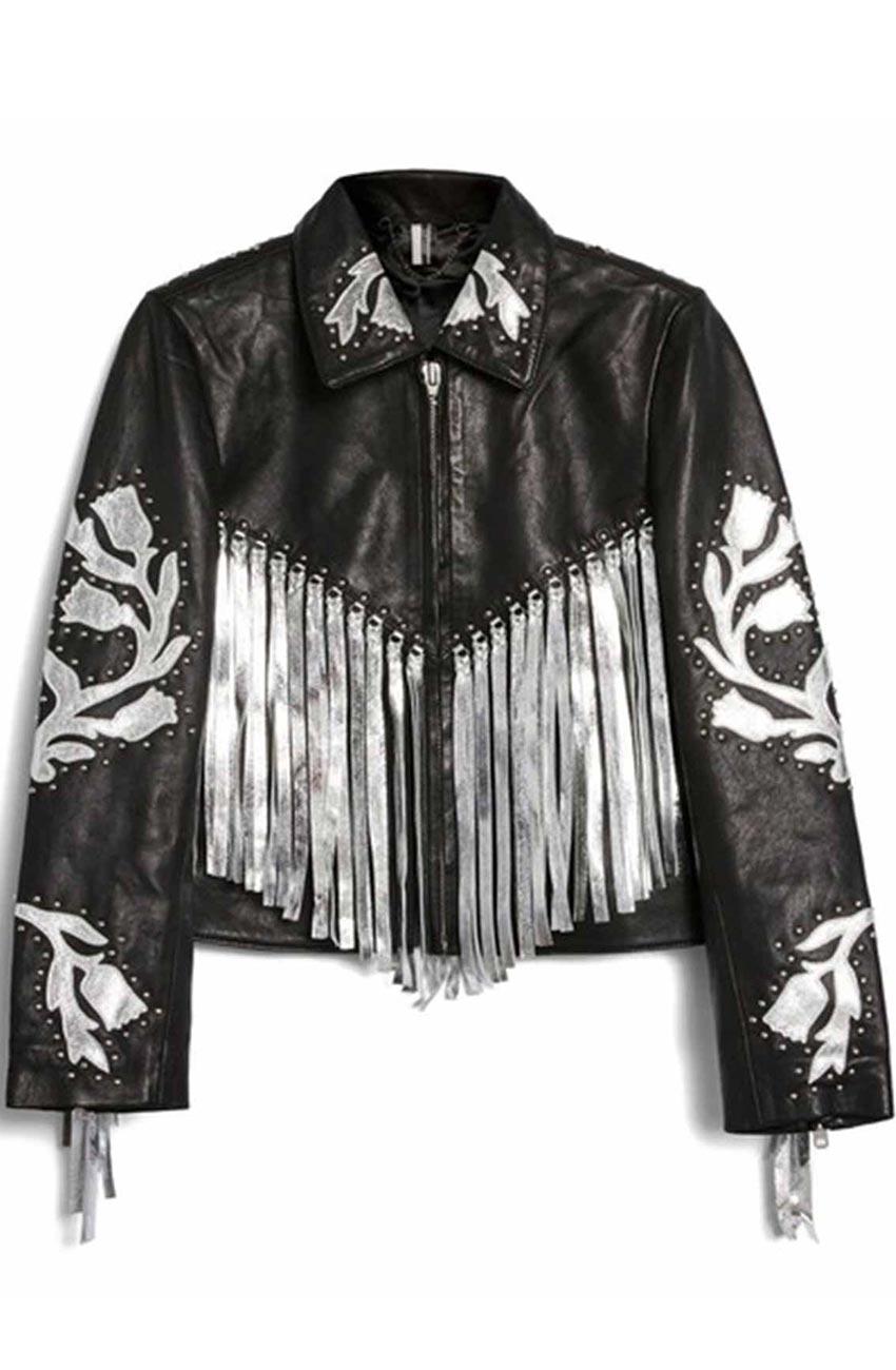 harley quinn black fringe jacket