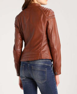 Women's Browny Cafe Racer Leather Jacket