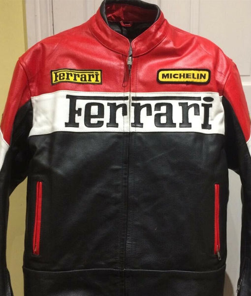 Ferrari Mens Red And Black Motorcycle Leather Jacket Theleathercity