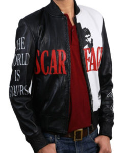 Tony Montana Scarface Al Pacino Bomber Leather Jacket - TLC front