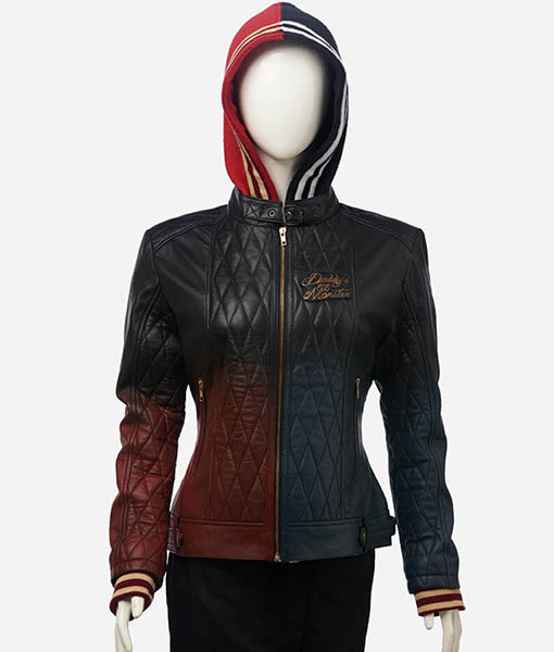 Harley Quinn Daddy's Lil' Monster Jacket – Leather Jacket With Hood