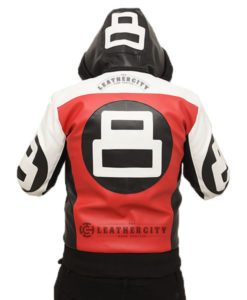 8 Ball Hooded Leather Jacket