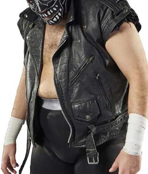 AEW Evil Uno Black Leather Vest | TLC