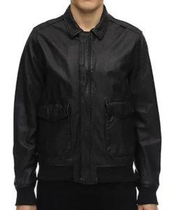 Covered Zipper Bomber Black Jacket