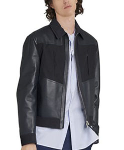 Mixed leather Bomber Jacket