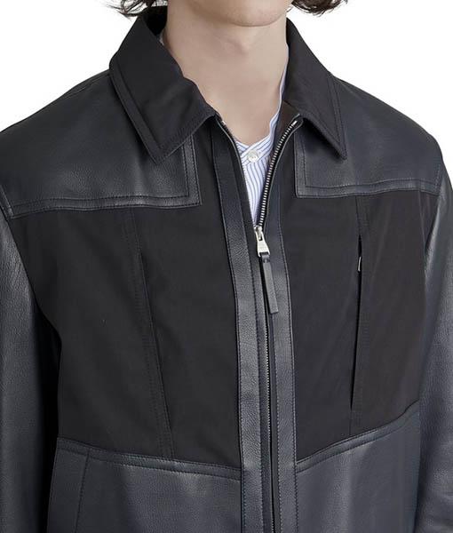 Mixed leather Bomber Jacket