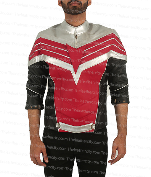The Falcon Red & Silver Leather Jacket
