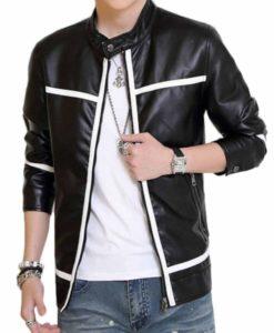 Men's Biker White Striped Leather Jacket