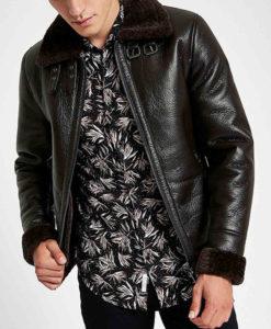 Men's Black Leather Aviator Jacket