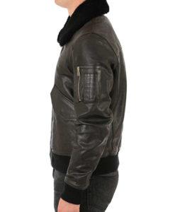 Men's Brown Leather Bomber Aviator Jacket