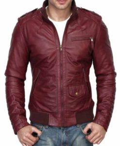Men's Burgundy Bomber Leather Jacket