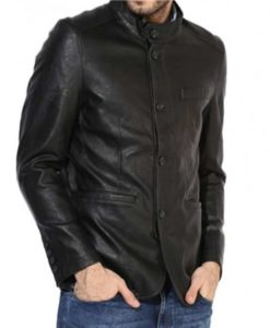 Men's Button Black Leather Blazer
