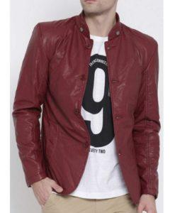 Men's Maroon Faux Leather Blazer