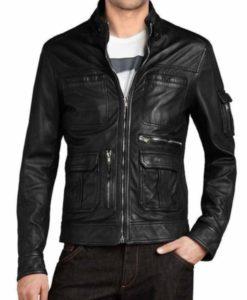 Men's Multi Pocket Black Leather Jacket