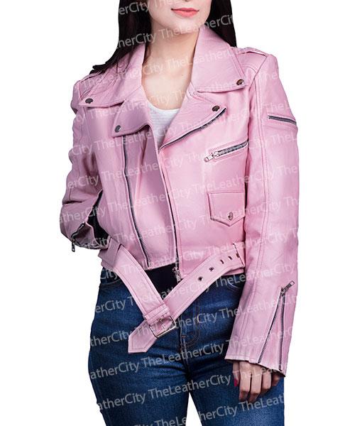 Pink Ladies Leather Jacket